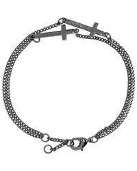 DSquared² - Multicolor Gunmetal Double Cross Bracelet for Men - Lyst