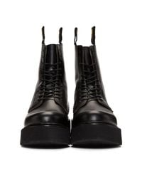 R13 - Black Velcro Stack Boots - Lyst