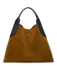 Lanvin - Brown Suede Large Cabas Tote - Lyst