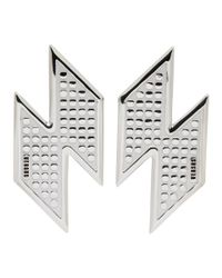 Versus  - Metallic Silver Lightning Bolt Earrings - Lyst