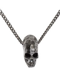 Emanuele Bicocchi - Metallic Silver Large Skull Pendant Necklace for Men - Lyst
