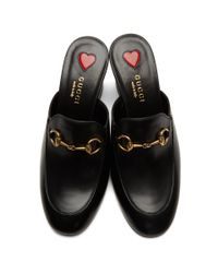 Gucci - Black Heeled Slip-on Loafers - Lyst