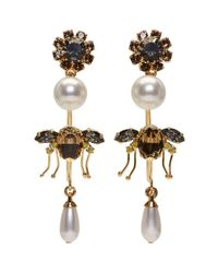 Erdem - Metallic Gold Bee Hoop Drop Earrings - Lyst