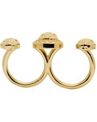 Versace - Metallic Gold Medusa Knuckle Ring - Lyst