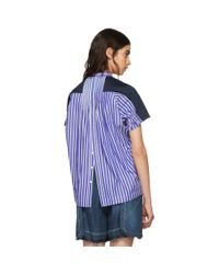Sacai - Blue Navy Jersey And Striped Poplin T-shirt - Lyst