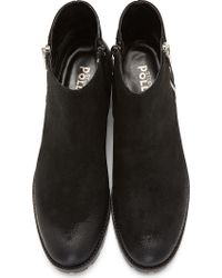 Studio Pollini | Black Distressed Suede Ankle Boots | Lyst