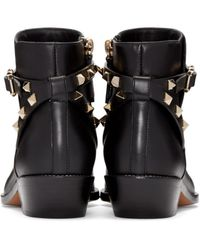 Valentino - Black 'rockstud' Leather Boots - Lyst
