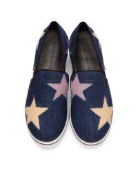Stella McCartney - Blue Navy Denim Binx Stars Slip-on Sneakers - Lyst