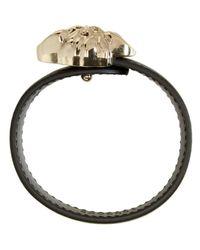 Versace - Black & Gold Leather Medusa Bracelet - Lyst