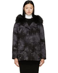 Army by Yves Salomon | Black & Grey Tie-dye Fur-lined Parka | Lyst