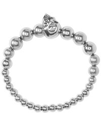 Alexander McQueen | Metallic Silver Beaded Skull Bracelet | Lyst
