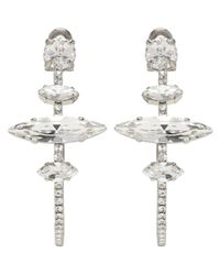 Miu Miu - Metallic Silver Crystal Hoop Clip-on Earrings - Lyst