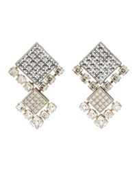 Lanvin - Metallic Gold And Silver Crystal Clip-on Earrings - Lyst
