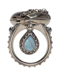 Alexander McQueen - Metallic Silver Heart Locket Ring - Lyst