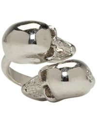 Alexander McQueen   Metallic Silver Twin Skull Ring   Lyst