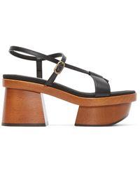 Stella McCartney - Brown Black Wood Platform Sandals - Lyst