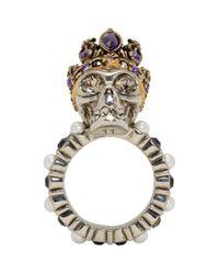 Alexander McQueen - Metallic Silver Queen Skull Ring - Lyst