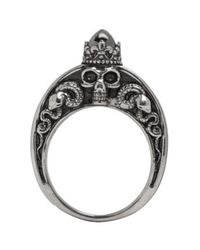 Alexander McQueen | Metallic Silver Skull Engraved Ring for Men | Lyst