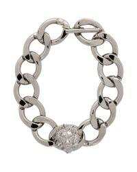 Versus  - Metallic Silver Lion Chain Choker - Lyst