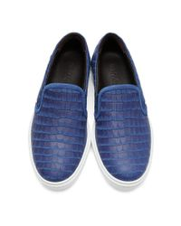 Jimmy Choo - Blue Croc-embossed Grove Slip-on Sneakers for Men - Lyst