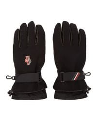 Moncler Grenoble - Black Canvas And Lambskin Gloves for Men - Lyst