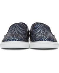 Jimmy Choo Blue Satin Star Grove Slip-on Sneakers for men