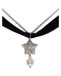 Miu Miu - Metallic Silver Star And Pearl Charm Necklace - Lyst
