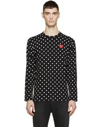 Play Comme des Garçons - Black Polka Dot Heart Patch T-shirt for Men - Lyst