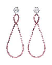 Miu Miu - Metallic Silver And Pink Large Crystal Teardrop Earrings - Lyst