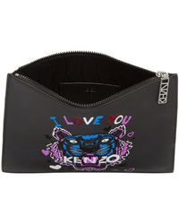 KENZO - Black Limited Edition 'i Love You' Logo A4 Pouch - Lyst