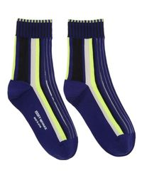 Issey Miyake | Blue Navy Lined Striped Socks | Lyst