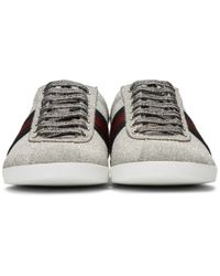 Gucci - Metallic Silver Glitter Web Bambi Sneakers for Men - Lyst