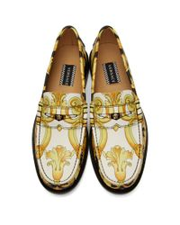 Versace - Black And White Hibiscus Loafers for Men - Lyst