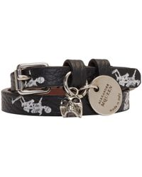Alexander McQueen - Black Dancing Skeleton Double Wrap Bracelet - Lyst