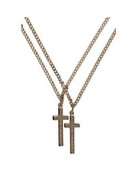DSquared² - Metallic Gold Double Cross Necklace for Men - Lyst