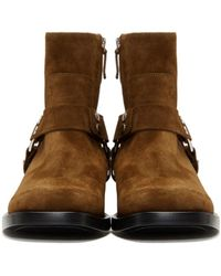 Balenciaga - Brown Suede Harness Buckle Boots - Lyst