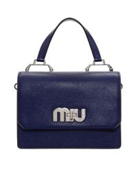 Miu Miu - Blue Navy And Pink Medium Miu Logo Bag - Lyst