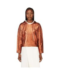3.1 Phillip Lim - Orange Copper Leather Cropped Poncho Sweatshirt - Lyst