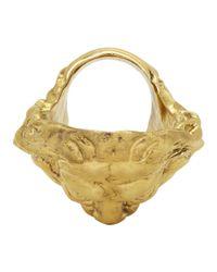 Gucci - Metallic Gold Hercules Mask Ring for Men - Lyst