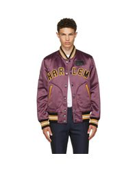 COACH - Purple Satin Varsity Jacket for Men - Lyst
