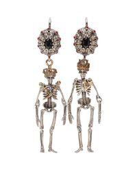 Alexander McQueen - Metallic Crystal-embellished Skeleton Earrings - Lyst