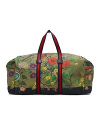 Gucci - Green Canvas Flora Snake Duffle Bag - Lyst