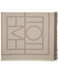 Totême  - Natural Taupe Logo Scarf - Lyst