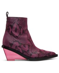 MM6 by Maison Martin Margiela Pink Faux-python Wedge Boots