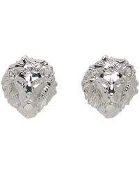 Versus  - Metallic Silver Lion Head Earrings - Lyst