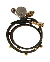 Alexander McQueen - Black Studded Safety Pin Double Wrap Bracelet - Lyst