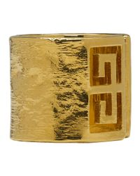 Givenchy - Metallic Gold Gv Side Ring - Lyst