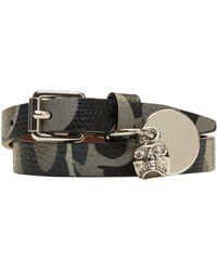 Alexander McQueen - Gray Grey Camo Skull Charm Double Wrap Bracelet for Men - Lyst