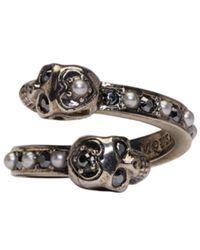 Alexander McQueen | Metallic Silver Crystal & Pearl Twin Skull Ring | Lyst