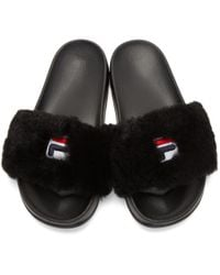 Baja East - Black Fila Edition Shearling Drifter Slides - Lyst